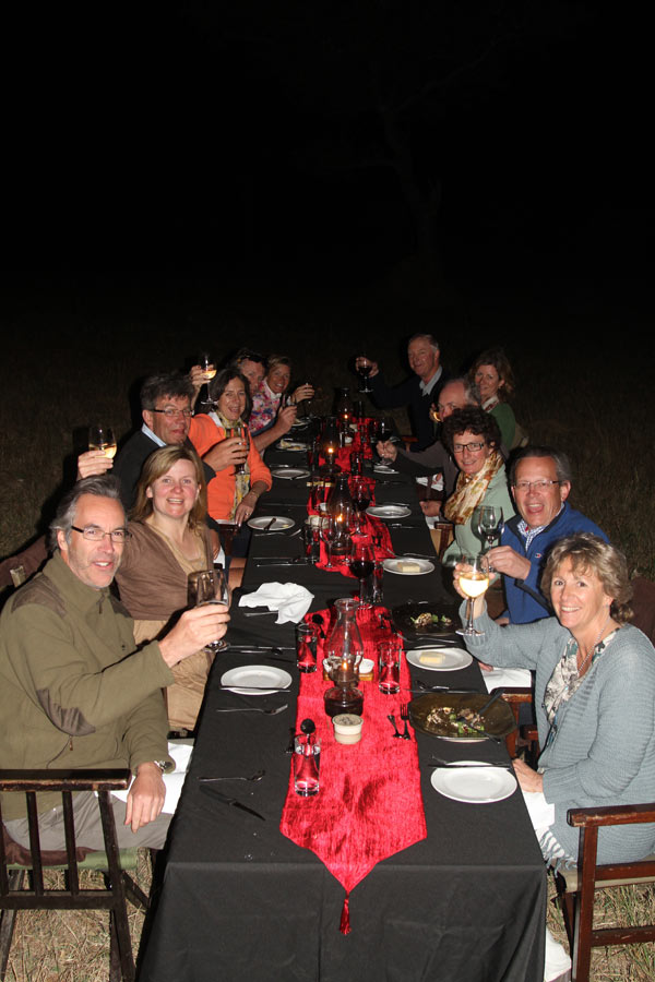 Guests having dinner at Sabi Sabi Little Bush Camp