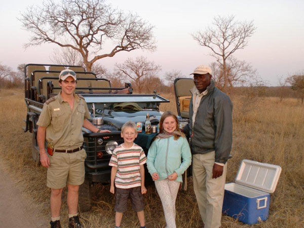 guests with ranger while on safari at Sabi Sabi