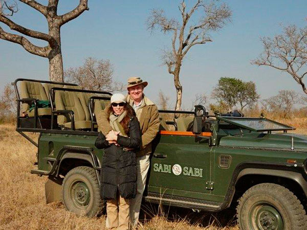 Peter and Chantal Rutter Dros on safari at Sabi Sabi Private Game Reserve