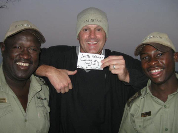 Jeff Lampkin with rangers while on safari at Sabi Sabi