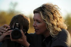 Ashley Hayden and son at Sabi Sabi