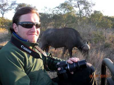 Dom Genest with Cape Buffalo