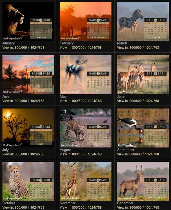 Sabi Sabi desktop calendars